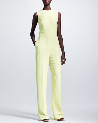 Cutout-Back Sleeveless Jumpsuit, Citron