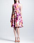 Floral-Print Poplin Dress, Neon Pink/Purple