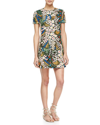 Short-Sleeve Crewneck Floral Macrame Dress, Multi