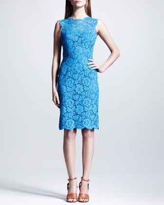 Sleeveless Heavy Lace Sheath Dress, Blue