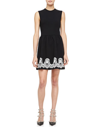 Sleeveless Crewneck Bambolina Lace-Trim Dress