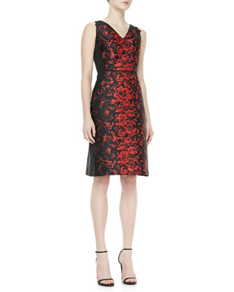 Rose Jacquard Dress, Black/Red