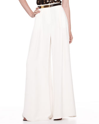 Silk Crepe Wide-Leg Pants, Ivory