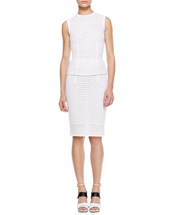 Fitted Eyelet Tank and Pencil Skirt