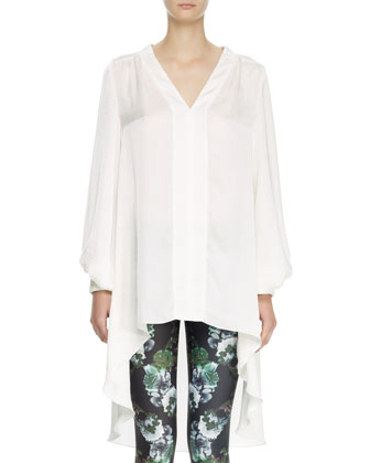 Long-Sleeve High-Low Shirt, White