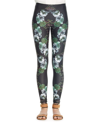 Floral-Print Leggings, Black/Green