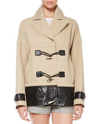 Cropped Leather-Trim Toggle Coat