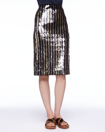 Striped Sequined Pencil Skirt