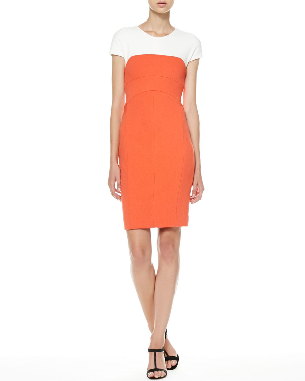 Womens Cap Sleeve Colorblock Sheath Dress   Narciso Rodriguez   White mandarin