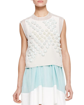 Sleeveless Dandelion Crop Top, Ivory