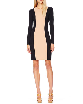 Two-Tone Stretch-Wool Dress