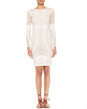 Long-Sleeve Cutout Sheath Dress, Off-White