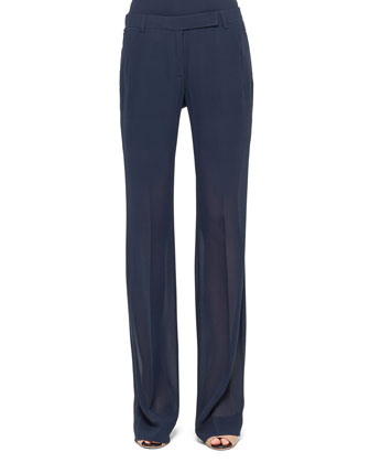 Straight-Leg Georgette Pants