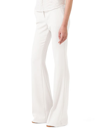 St. Gallen Eyelet Short Blouse and Boot-Cut Cotton-Silk Pants
