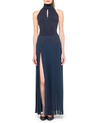 Sleeveless Mock-Neck Bodysuit and Long Side-Slit Plisse Skirt