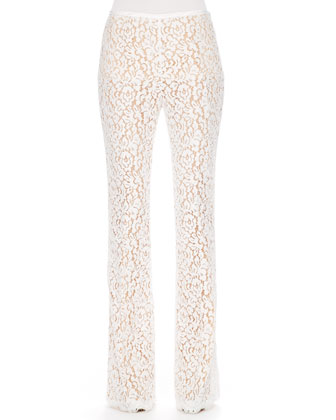 Arched-Hem Knit Sweater, Smooth Leather Belt & Floral-Lace Trousers