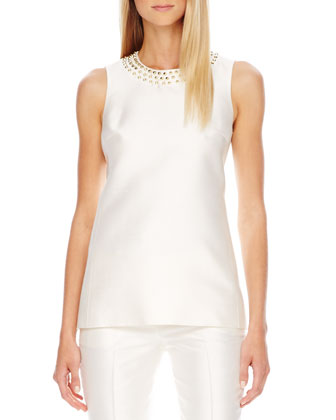 Stud-Neck Shantung Top