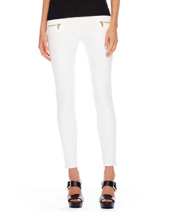 Scoop-Neck Cashmere Top & Zip-Pocket Skinny Jeans