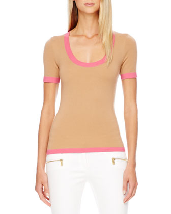 Contrast-Trim Cashmere Top