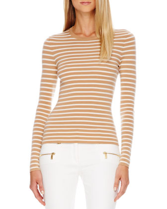 Zip-Front Jacket, Striped Cashmere Top & Zip-Pocket Skinny Jeans