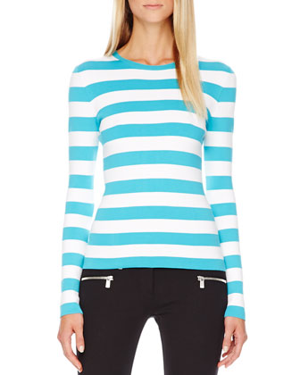 Striped Cotton Tee & Stretch-Cotton Skinny Pants