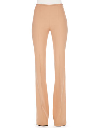 Side-Zip Crepe Pants