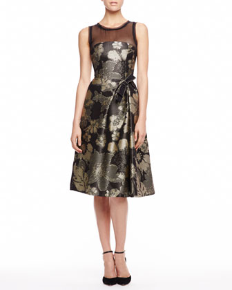 Pixelated Floral Jacquard Dress, Black/Gold