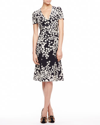 Floral Crepe de Chine Dress, Black/Ivory