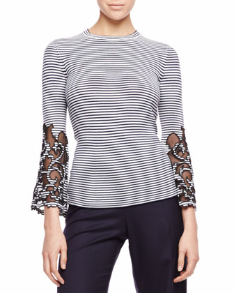 Cutout-Sleeve Striped Top, Navy/White