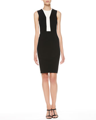Two-Tone Sleeveless Sheath Dress