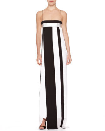 Striped Empire-Waist Gown
