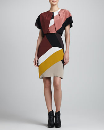 Short-Sleeve Colorblock Dress, Multi