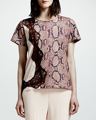 Lace-Trim Python-Print Tee, Rose/Multi