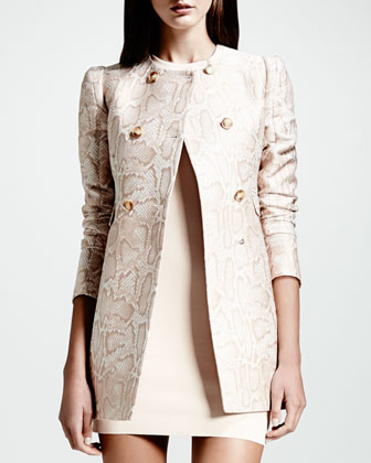 Double-Breasted Python-Print Blazer & Cut-In Sleeveless Sheath Dress