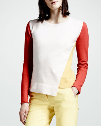 Asymmetric Colorblock Cashmere Sweater & Skinny Stretch Cotton Pants
