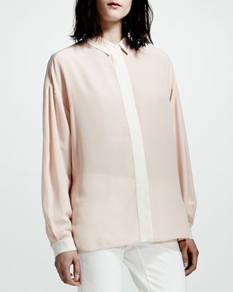 Covered-Placket Silk Blouse, Rose