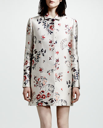 Hidden-Placket Wildflower Jacquard Coat, White/Multi