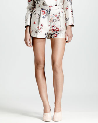 Wildflower Jacquard Shorts, White/Multi