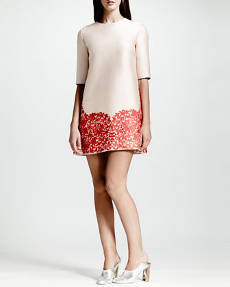 Lace-Hem Shift Dress, Rose/Red