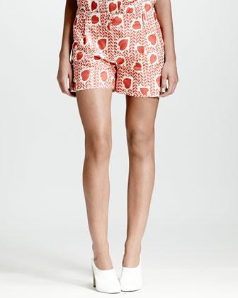 Heart & Lip-Print Pleated Shorts, Medium Pink