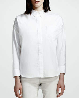 Lace-Collar Blouse, White