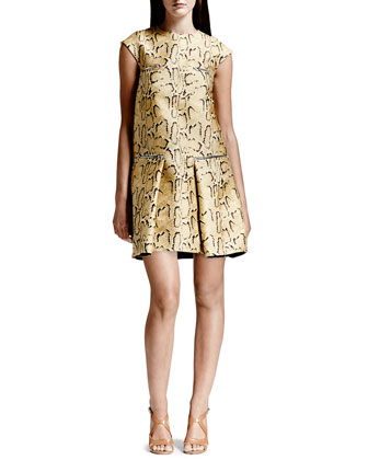 Python-Print Flounce Dress, Chamomile