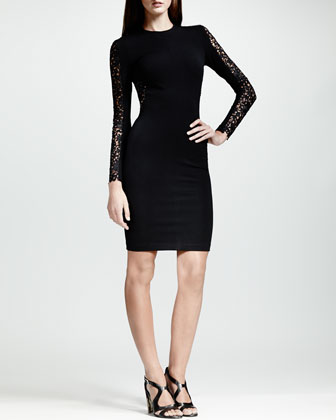 Lace-Inset Long-Sleeve Sheath Dress, Black