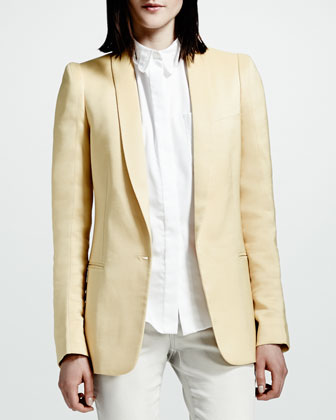Tailored One-Button Jacket, Chamomile
