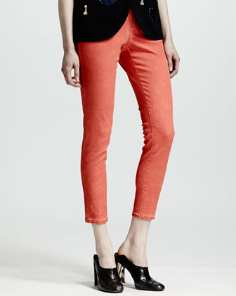 Four-Pocket Cropped Jeans, Lipstick