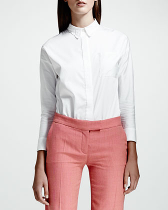 Cotton Poplin Blouse, White