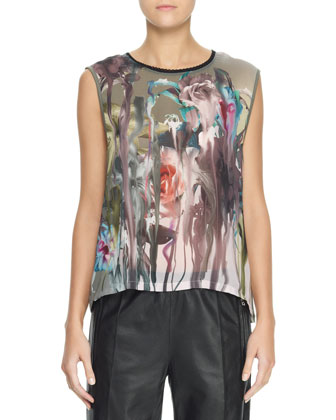 Sleeveless Floral Blouse & Leather Track Trousers