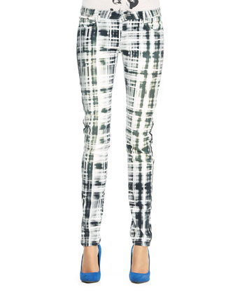 Tile Camouflage Print Slim Pants, White/Gray