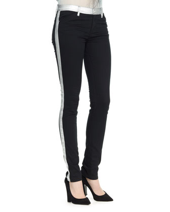 Skinny Pants with Stripe, Black/Silver