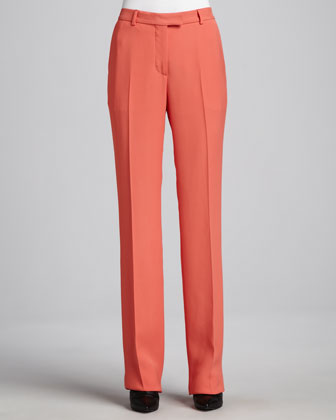Straight-Leg Flat-Front Pants, Coral